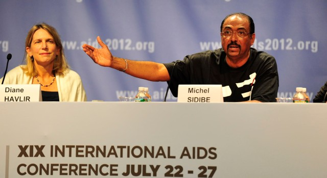 Michel Sidibé at a press conference on Sunday, July 22, 2012